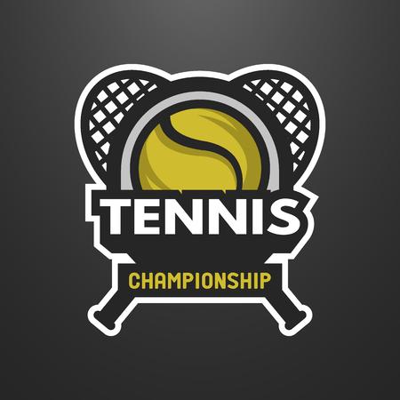 TENIS: Se divierte el logotipo de tenis, sello, emblema sobre un fondo oscuro. Vectores