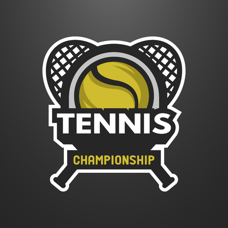 Tennis sports logo, label, emblem on a dark background. Stock Illustratie