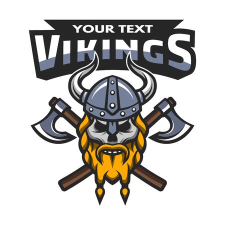vikingo: Guerrero Vikingo emblema etiqueta cráneo. Ilustración del vector.
