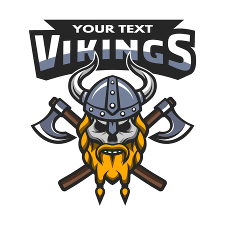 Viking warrior skull label emblem. Vector illustration.