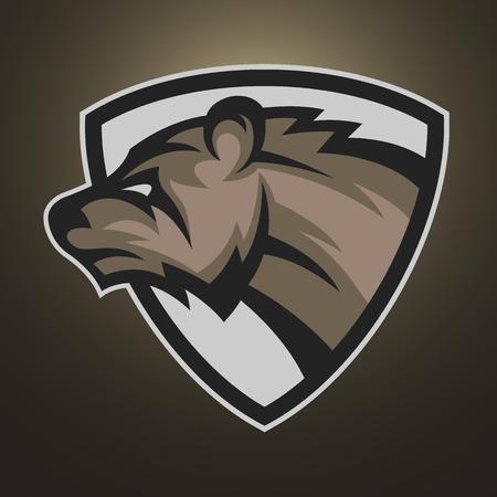 스포츠 팀의 곰 기호, 상징 또는 로고. 일러스트