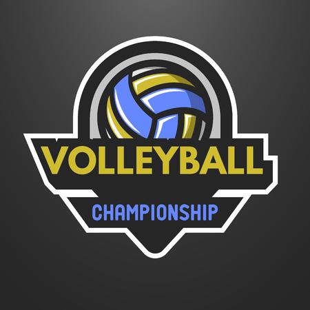 voleibol: Se divierte el logotipo del voleibol, sello, emblema sobre un fondo oscuro.