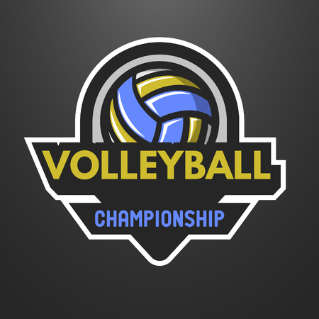volleyball: Volleyball sports logo, label, emblem on a dark background.