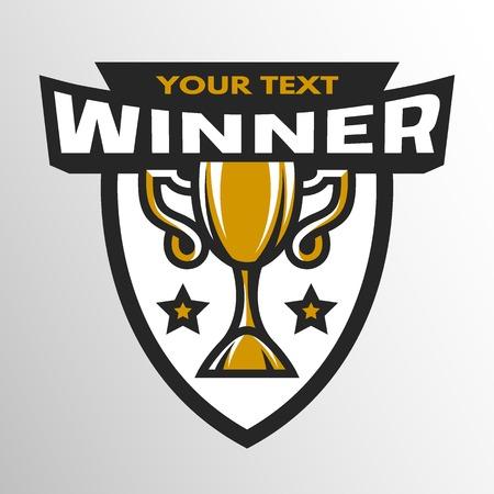 colleges: Winner Sports trophy logo emblem badge. Vector illustration.