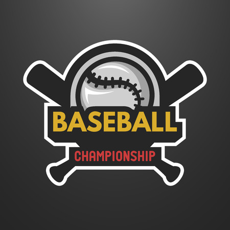 league: Baseball sports logo, label, emblem on a dark background. Illustration