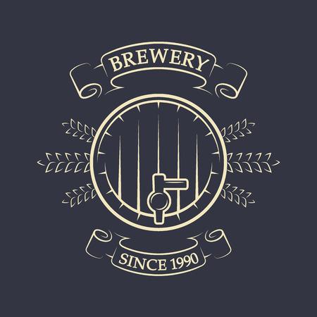 Craft brewing Beer keg Vintage emblem Vector illustration.