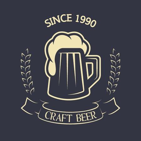 alcohol logo: Craft brewing Emblem vintage style Vector illustration.