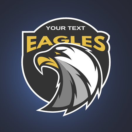 falcon: Eagle emblem, logo for a sports team. Vector illustration.