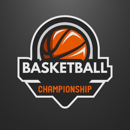 baloncesto: Se divierte el logotipo de baloncesto, sello, emblema sobre un fondo oscuro.