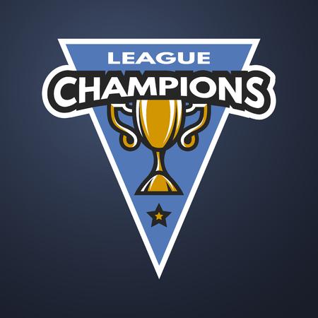 league: Champion sports league logo, emblem, badge on a dark background. Illustration