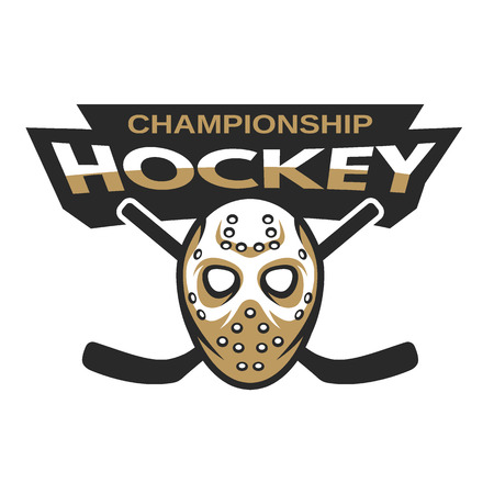 hockey players: Ice Hockey sports mascot logo. Hockey goalie mask with sticks. Illustration