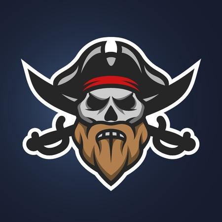 海賊キャプテン スカルと剣。シンボル マスコットのロゴ。  イラスト・ベクター素材
