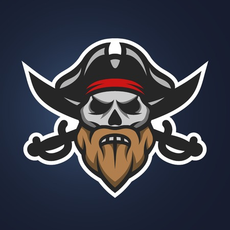 tete de mort: Pirate crâne de capitaine et épées. Symbole mascotte logo.
