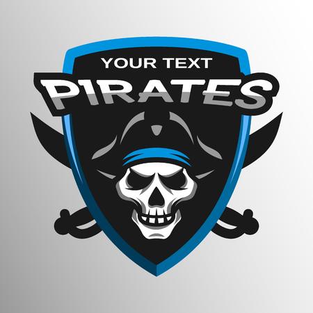 Skull pirates and swords. Sport emblem logo. Illustration