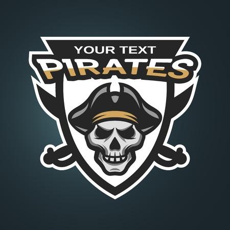 sombrero pirata: Piratas y espadas del cr�neo. Deporte emblema logo en un fondo oscuro. Vectores