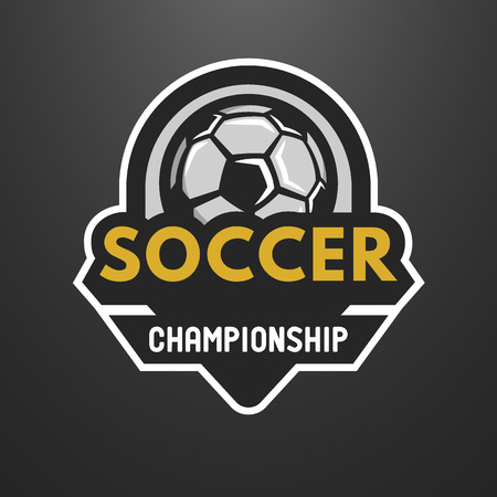 Soccer sports logo, label, emblem on a dark background. Фото со стока - 47563316