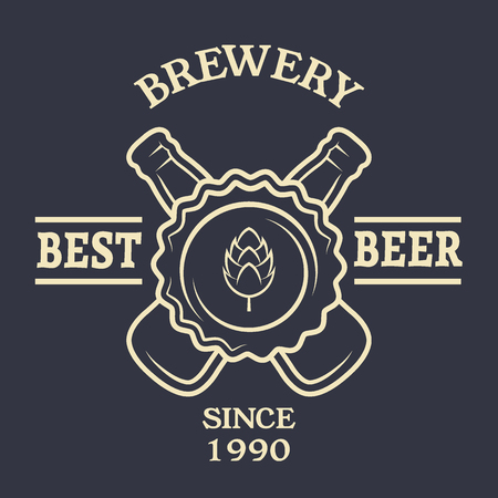 Two bottles of beer Vintage emblem. Vector illustration.