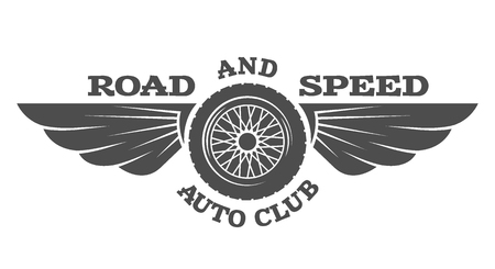Wheel and wings vintage car emblem badge. Vector illustration. Vettoriali