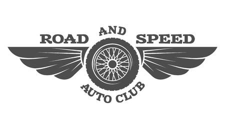 Wiel en vleugels vintage auto embleem badge. Vector illustratie.