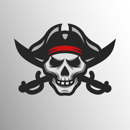 Pirate Skull and swords. Symbol mascot logo.