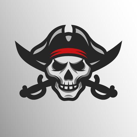 calavera pirata: Cráneo del pirata y espadas. Símbolo logo mascota. Vectores