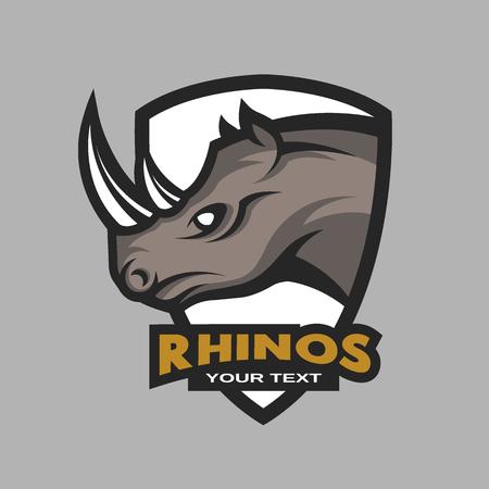 Rhino emblem, logo for a sports team. Vector illustration. Ilustração