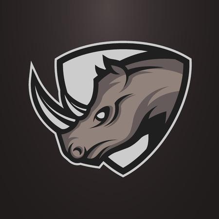 코뿔소 심볼, 로고 또는 스포츠 팀 로고. 벡터 일러스트 레이 션.