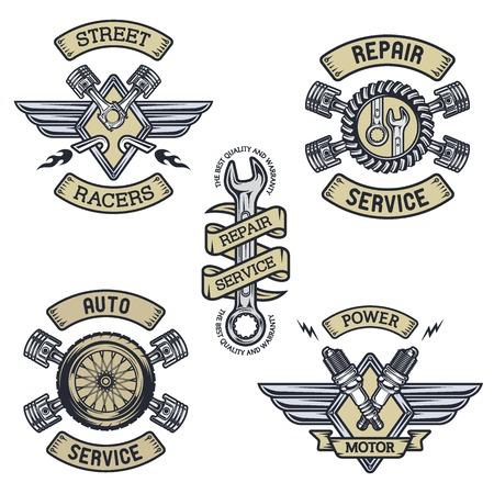 repuestos de carros: Conjunto de coche emblemas distintivos símbolos. Estilo vintage.