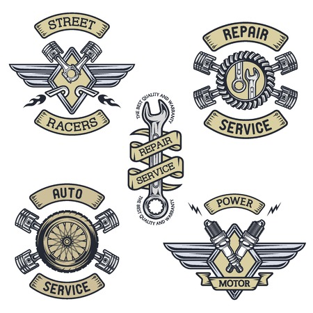 auto shop: Set of car emblems badges symbols. Vintage style. Illustration