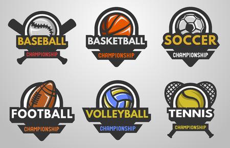 balones deportivos: Conjunto de logotipos deportivos Béisbol Baloncesto Fútbol Fútbol Voleibol Tenis.
