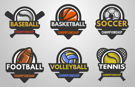 team sport: Set of sports logos Baseball Basketball Football Soccer Volleyball Tennis.