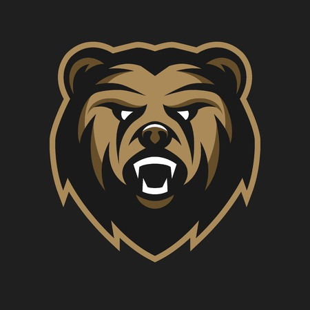 cartoon bear: Angry Bear logo symbol on a dark background.