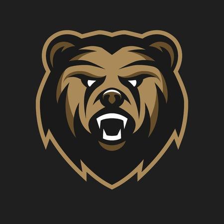 oso caricatura: Enojado del logotipo del s�mbolo del oso sobre un fondo oscuro.