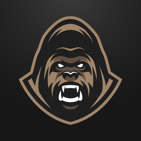 screaming head: Angry Gorilla logo symbol. on a dark background. Illustration