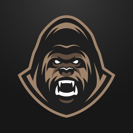 monos: Enojado Gorila logo símbolo. sobre un fondo oscuro.