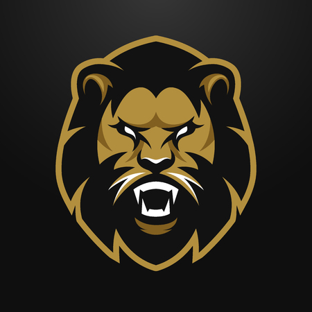 Angry Lion logo symbool. op een donkere achtergrond.