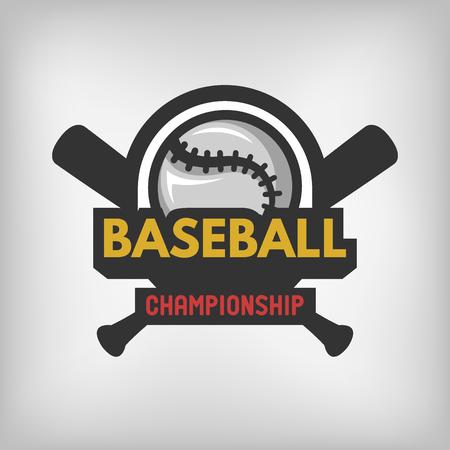 beisbol: deportes del béisbol etiqueta del emblema del logotipo. Ilustración del vector.