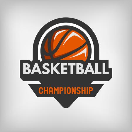 college basketball: Basketball sports logo label emblem. Vector illustration.
