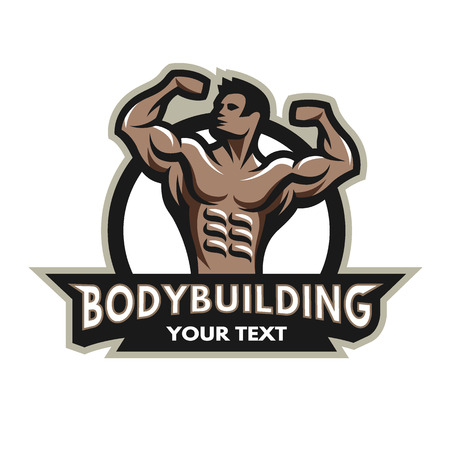 Bodybuilder from the front double biceps. Badge emblem. Vectores