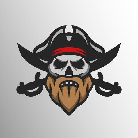 calavera pirata: Cráneo capitán pirata y sables cruzados insignia, logotipo. Vectores
