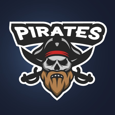 Captain Pirate Skull and crossed sabers badge, logo, emblem on a dark background.