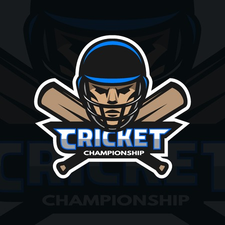 batsman: Cricket player and bats. Sport emblem badge.