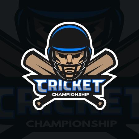 cricket helmet: Cricket player and bats. Sport emblem badge.