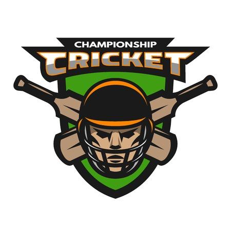 Cricket player beats on the background of the shield. Sport emblem badge. Ilustração
