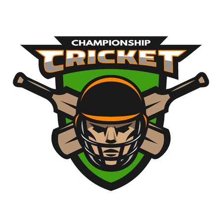 Cricket player beats on the background of the shield. Sport emblem badge. Vectores