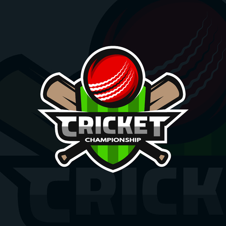 cricket stump: Cricket sports label, badge, emblem. The ball and bats on the background of the shield.