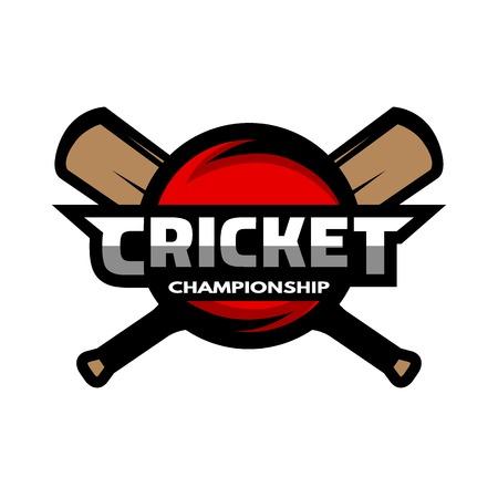 cricket stump: Cricket sports label badge emblem. The ball and bat.