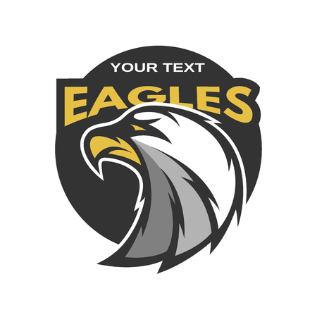 Eagle symbol logo or sports emblem. Vector illustration.