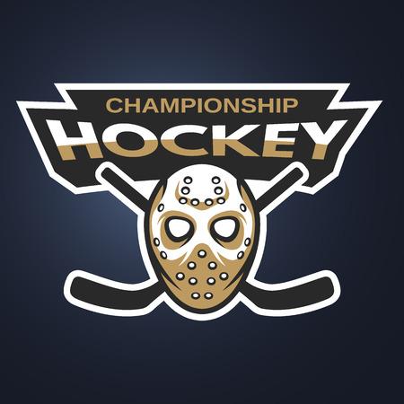 Goalie mask. Ice hockey badge, logo, emblem on a dark background