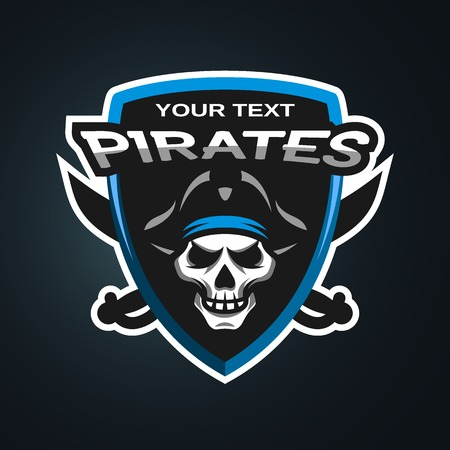 Pirate Skull and crossed sabers sea pirate theme badge, logo, emblem on a dark background. Ilustração